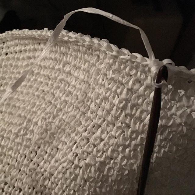 Bamboo paper crochet by night #naomipaullighting #bespoke #lighting #design #japanese #bamboo #paper #yarn #crochet