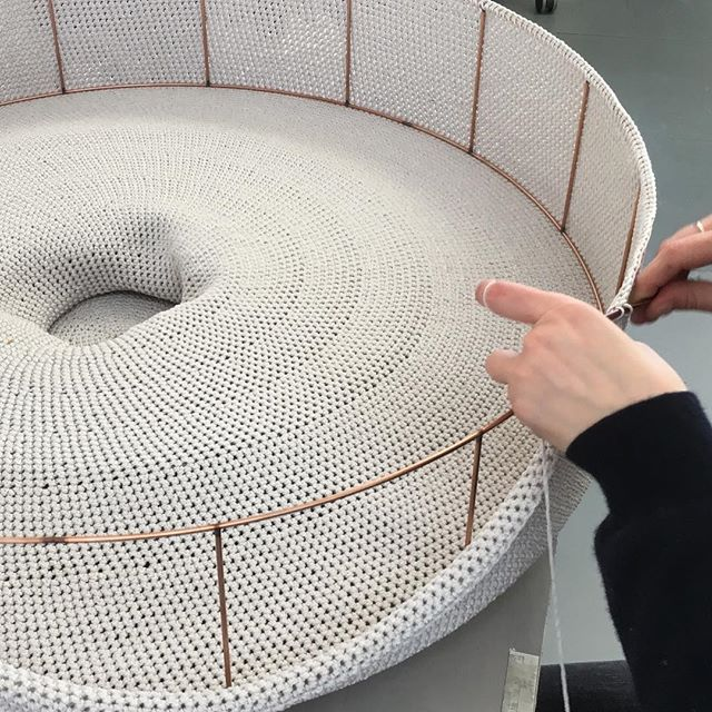 On the workbench today, a Monika Ø800mm pendant being created by our in-house maker Félicie. This is one of our largest collection pieces and takes around 40 hours to hand crochet. This ones destined for a beautiful residential interior in New York