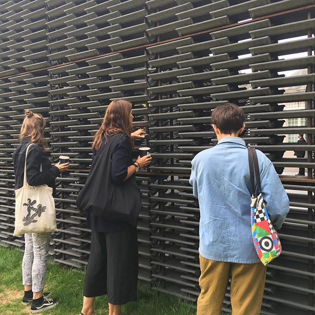 A much needed studio outing after our busiest summer ever, to visit to the @serpentineuk summer pavilion designed by Architect Frida Escobedo. As an all female team, this was such a joy to see such great & bold work by a fellow female designer.